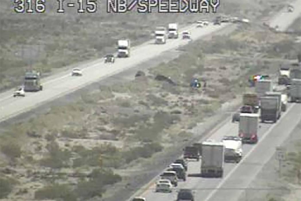 The Nevada Highway Patrol investigates a fatal crash on Interstate 15 near the Las Vegas Motor ...