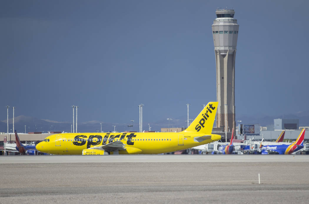 A Spirit Airlines aircraft taxis at McCarran International Airport on Tuesday, May 21, 2019, in ...