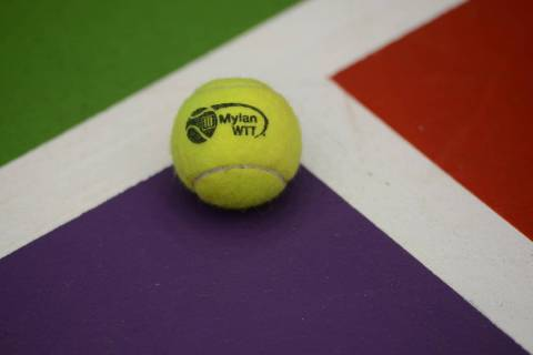 July 21, 2017 - Washington D.C, USA - A World Team Tennis ball on the court at the Smith Center ...
