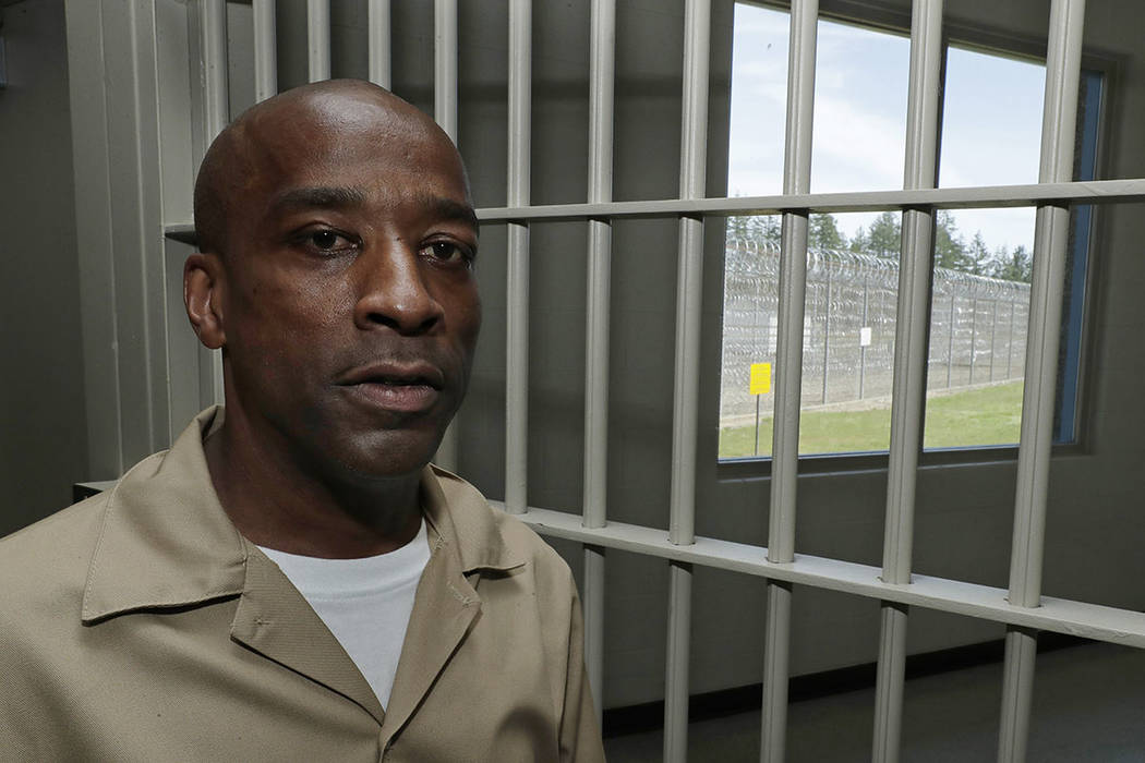 In this May 9, 2019 photo, Devon Laird poses for a photo in the Washington Correctional Center ...