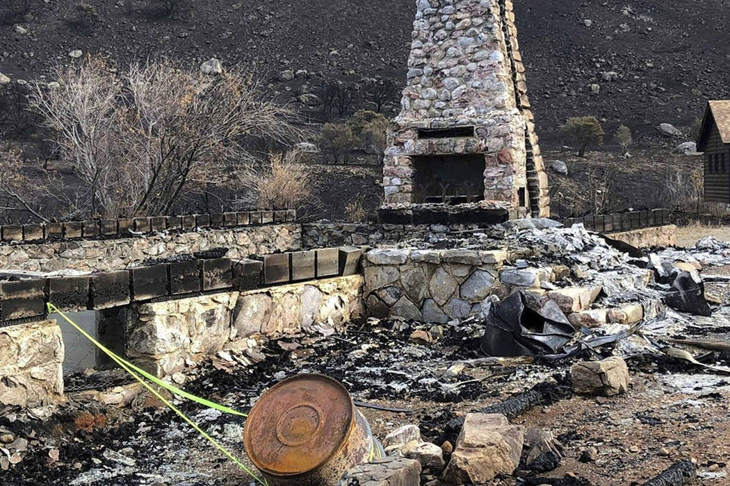 This October 2018 photo provided by the Elko Lion's Club, shows the fireplace and chimney, the ...