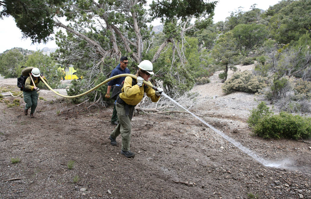 Firefighter from Bureau of Land Management, Calvin Goff, front, and Travis Flowers spray water ...