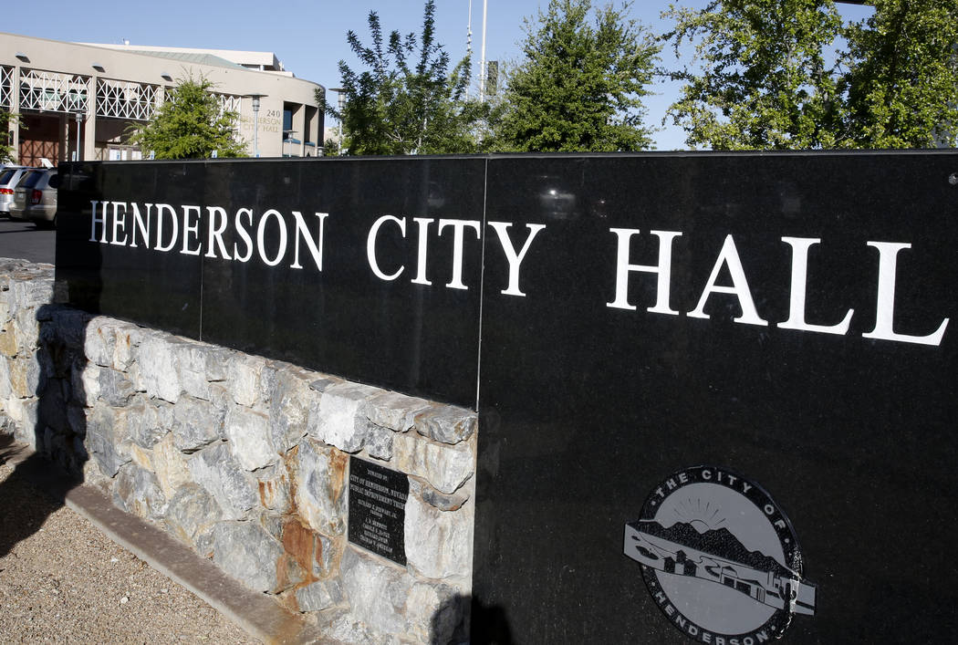 Henderson City Hall on Thursday, April 13, 2017. (Bizuayehu Tesfaye/Las Vegas Review-Journal) @ ...