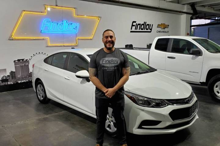 Walter Long Elementary School teacher Greg Winiewicz won a 2018 Chevrolet Cruze from Findlay Ch ...