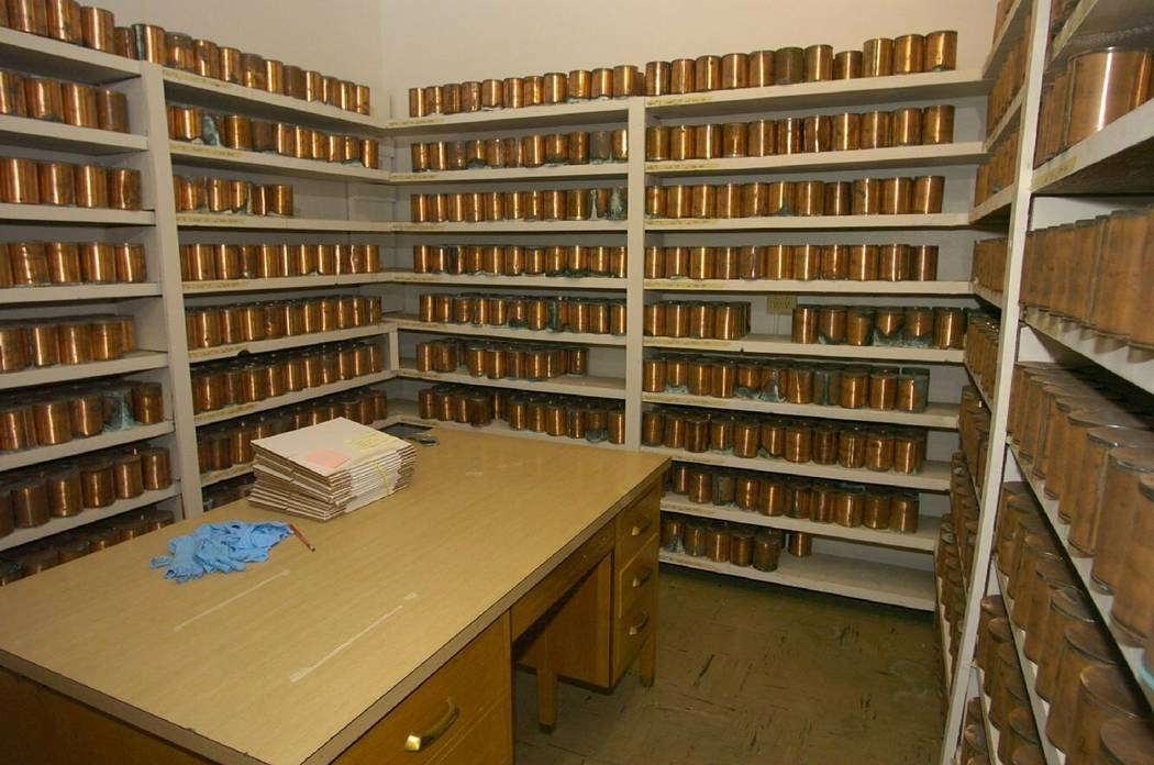 FILE - This April 19, 2012, file photo, shows copper canisters holding ashes of some of the tho ...
