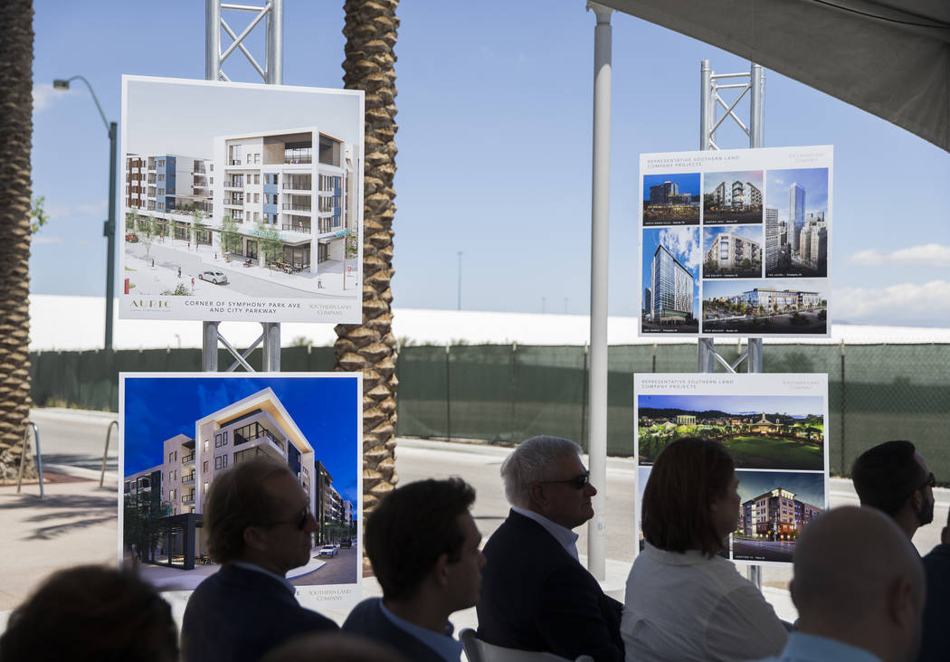 Specs for Auric, the first residential development at Symphony Park in downtown Las Vegas, hang ...