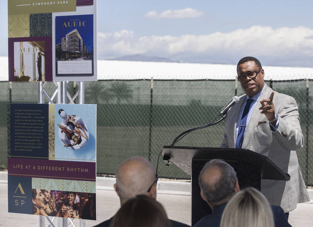 Councilman Cedric Crear, right, speaks during a ground breaking ceremony for the first resident ...