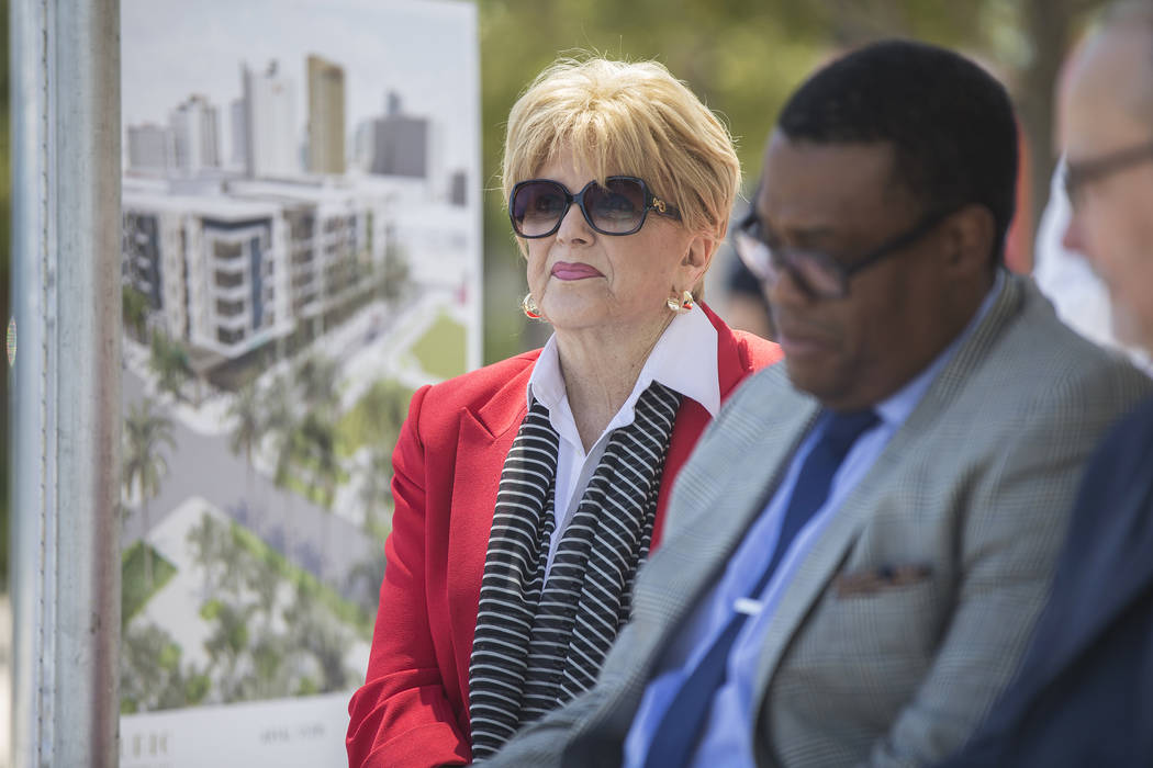 Mayor Carolyn Goodman, left, is introduced during a ground breaking ceremony for the first resi ...