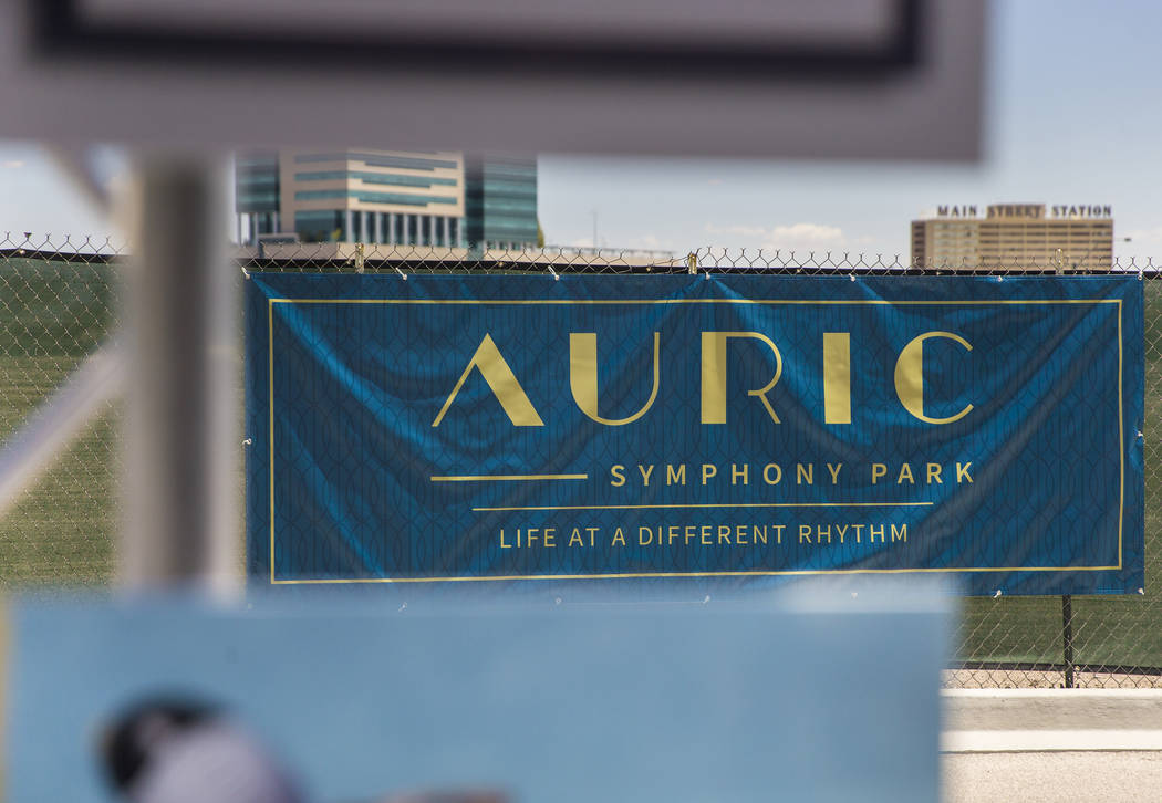 Signage for Auric, the first residential development at Symphony Park in Downtown Las Vegas, ha ...