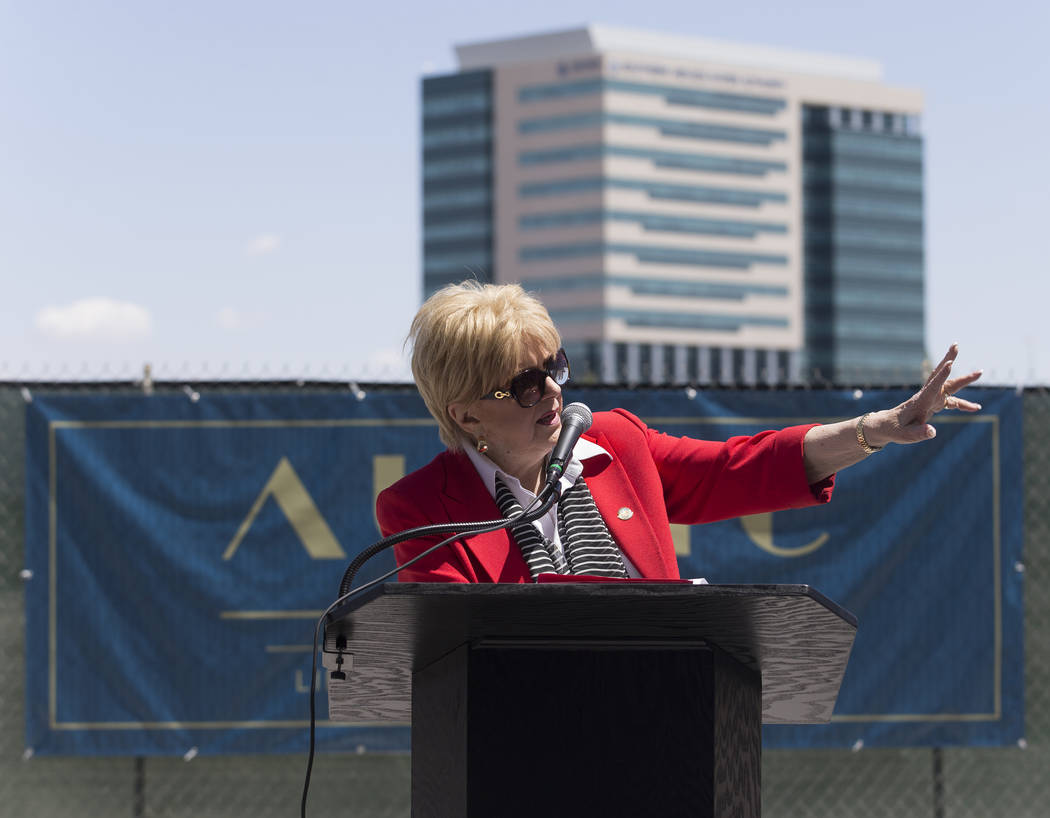 Mayor Carolyn Goodman speaks during a ground breaking ceremony for the first residential develo ...