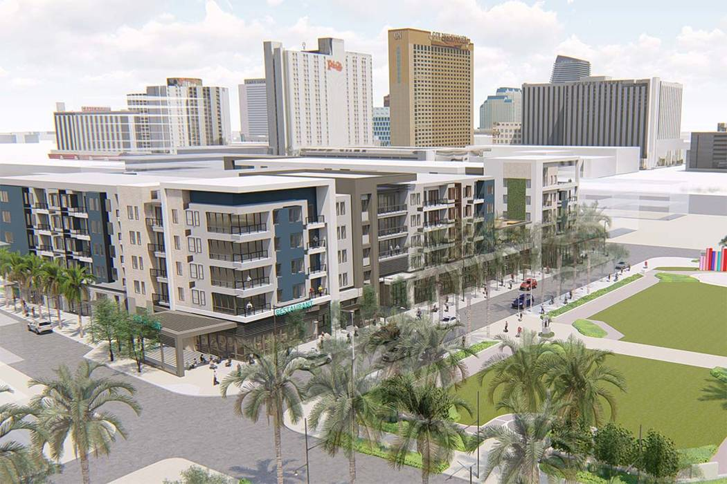 Rendering of Auric Symphony Park to be built in Symphony Park in downtown Las Vegas (Southern ...