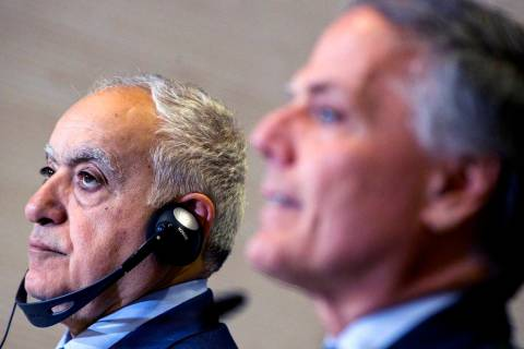 Italian Foreign Minister Enzo Moavero Milanesi, right, and UN special envoy for Libya, Ghassan ...