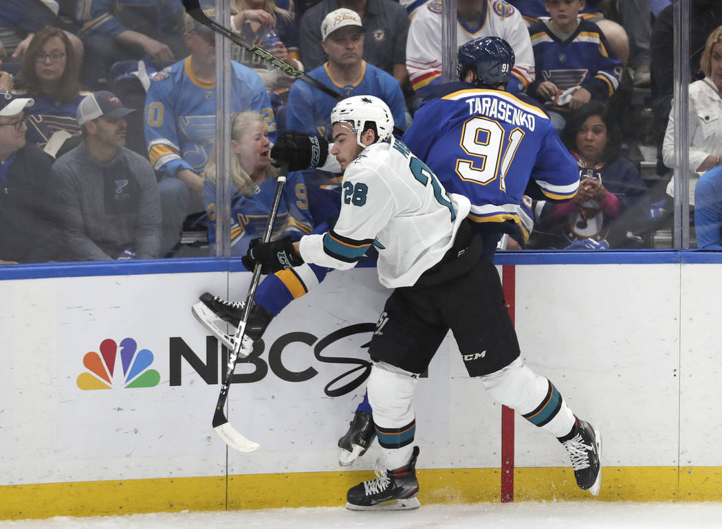 San Jose Sharks right wing Timo Meier (28), of Switzerland, checks St. Louis Blues right wing V ...