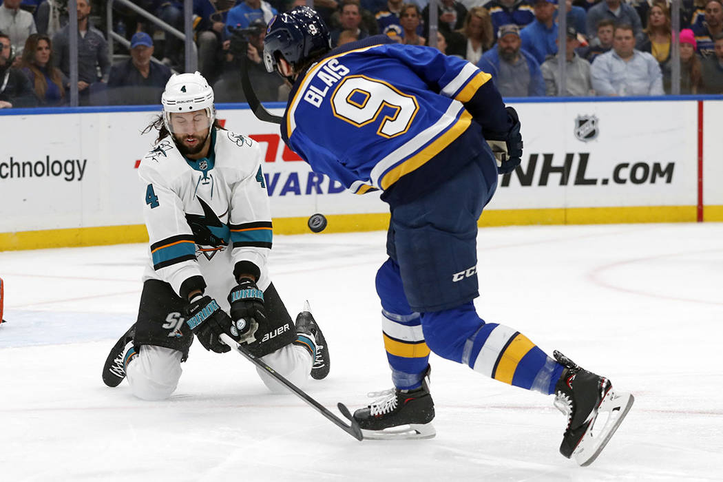 St. Louis Blues left wing Sammy Blais (9) shoots against San Jose Sharks defenseman Brenden Dil ...
