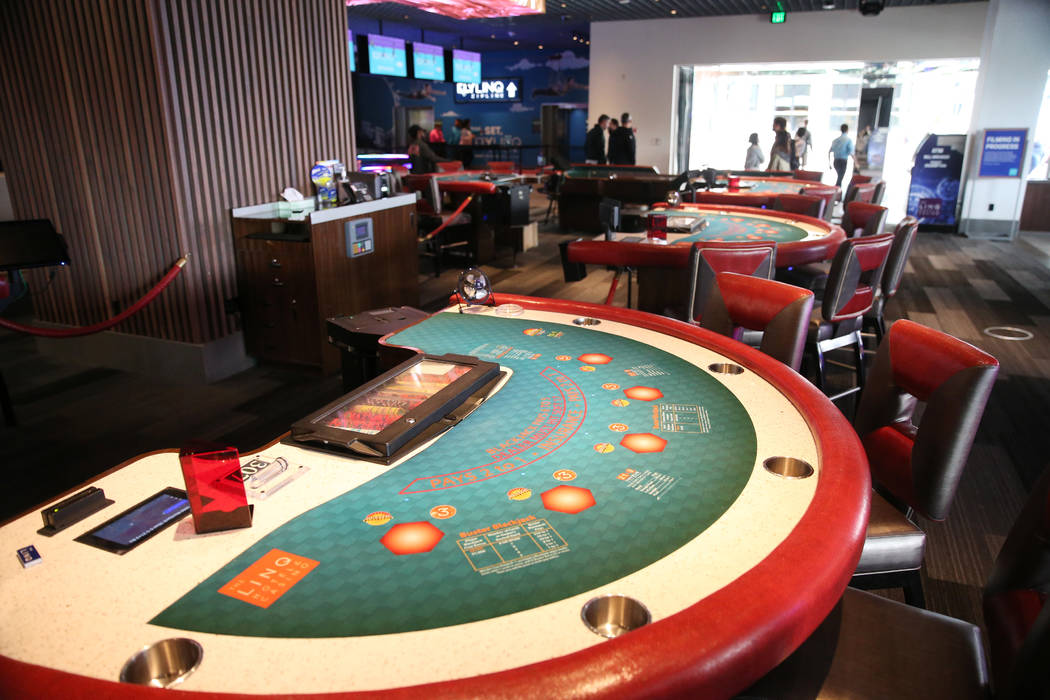 Gaming tables inside Rematch Bar at The Linq Hotel in Las Vegas, Wednesday, May 22, 2019. (Erik ...