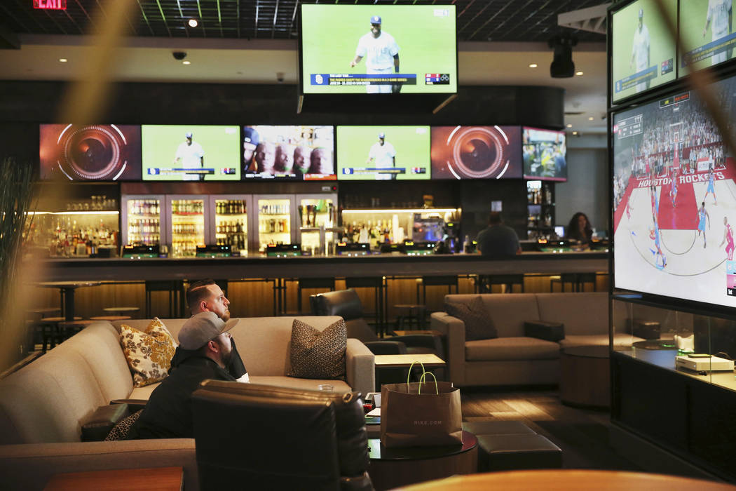 The sports book at The Linq Hotel in Las Vegas, Wednesday, May 22, 2019. (Erik Verduzco / Las V ...