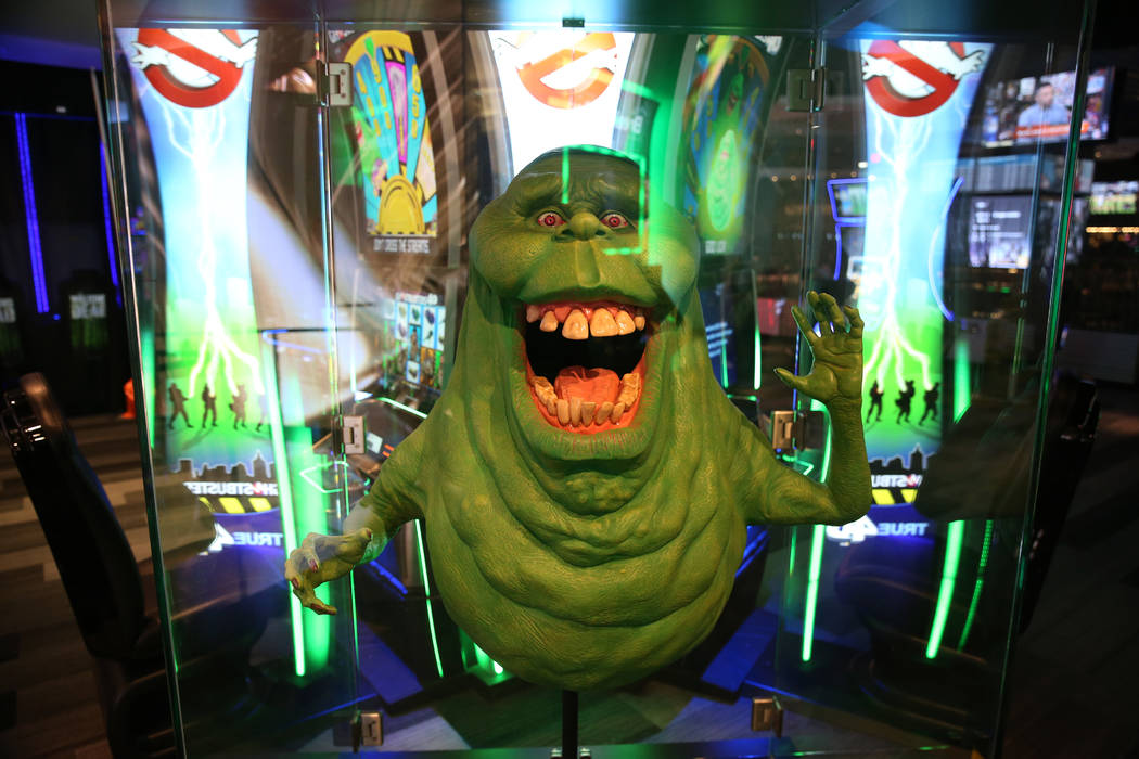 The ghost from Ghostbusters decorates the gaming floor at The Linq Hotel in Las Vegas, Wednesda ...