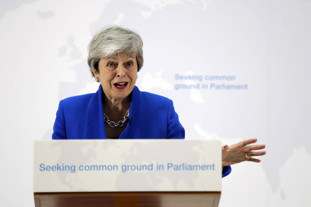 Britain's Prime Minister Theresa May delivers a speech in London, Tuesday, May 21, 2019. The Br ...