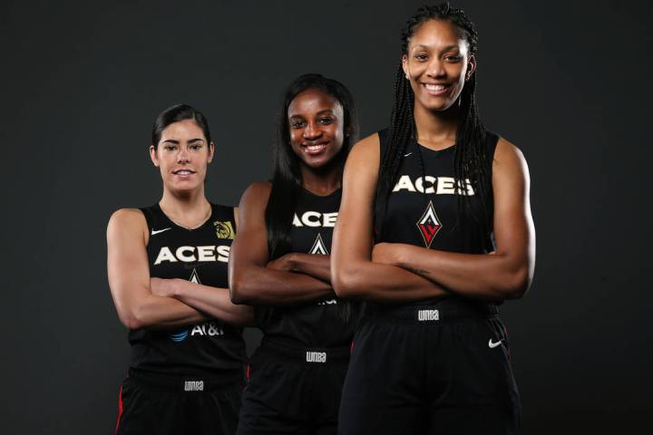 Las Vegas Aces' Kelsey Plum, from left, Jackie Young, and A'ja Wilson, at the Mandalay Bay Even ...