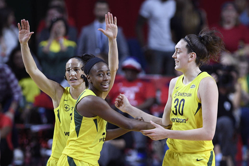 FILE - In this Wednesday, Sept. 12, 2018, file photo, from left, Seattle Storm's Sue Bird, Jewe ...