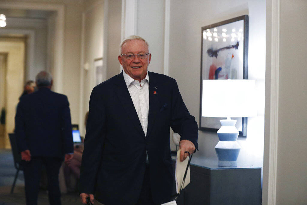 Dallas Cowboys owner Jerry Jones arrives to the NFL football owners meeting on Wednesday, May 2 ...