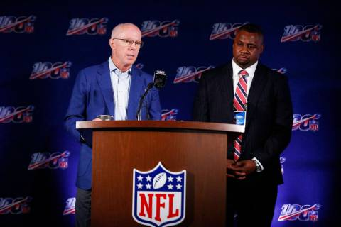 Atlanta Falcons President and CEO, Rich McKay, left, and Troy Vincent, Executive Vice President ...