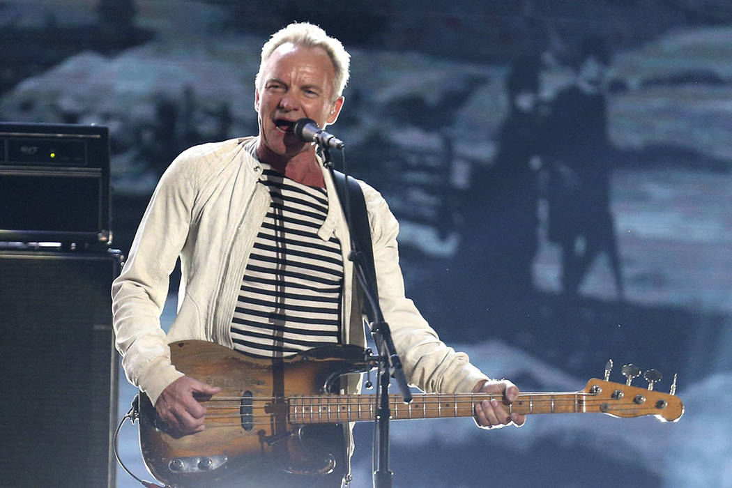 FILE - This Jan. 28, 2018 file photo shows Sting performing at the 60th annual Grammy Awards in ...