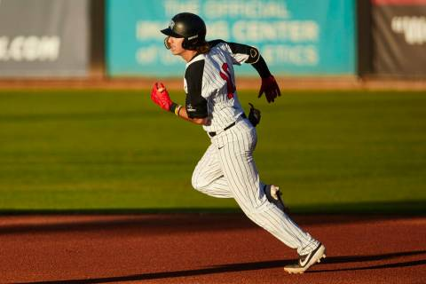 UNLV shortstop Bryson Stott runs the bases in a 7-3 loss to San Jose State on April 12 at Wilso ...