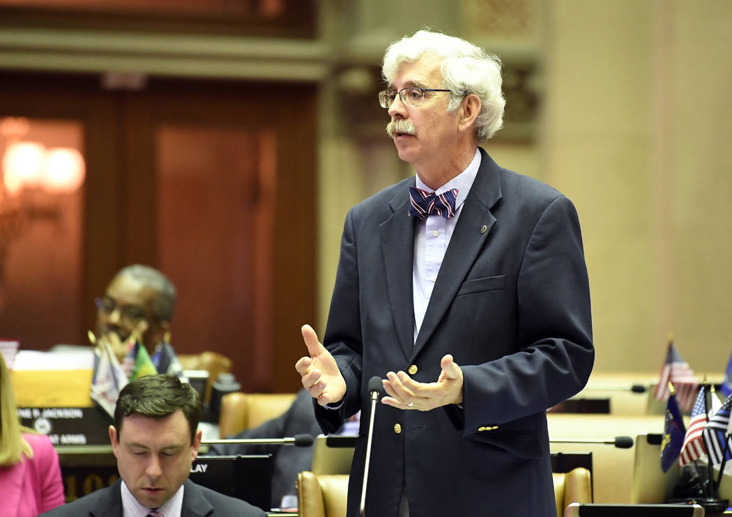 Assemblyman Andy Goodell, R-Jamestown, speaks to members of the New York state Assembly against ...
