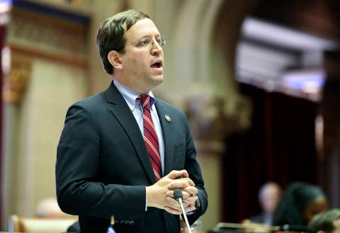 David Buchwald, D-Westchester, speaks to members of the New York state Assembly in favor of leg ...