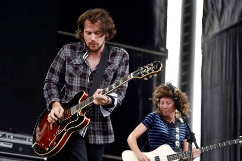 Lead singer Brian Aubert, left, bassist Nikki Monninger and Silversun Pickups perform during th ...