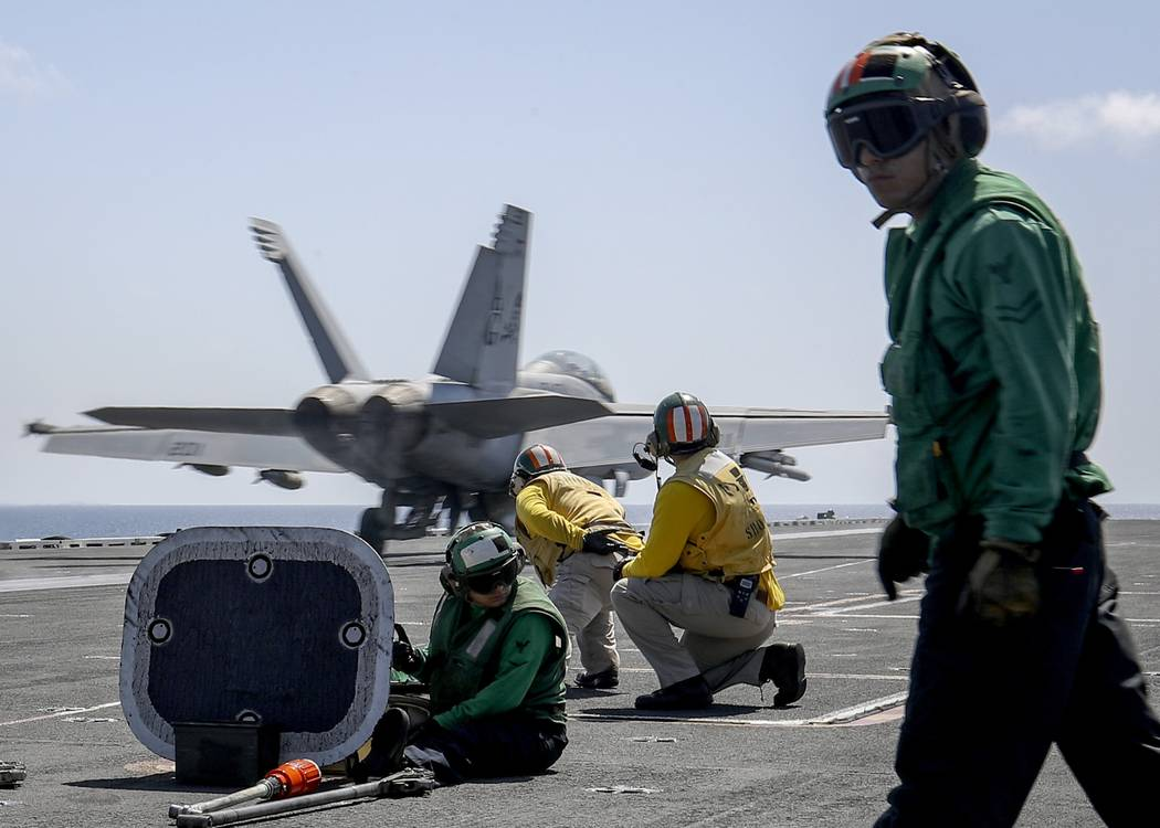 In this Monday, May 20, 2019 photo, released by U.S. Navy, an F/A-18E Super Hornet from the &qu ...