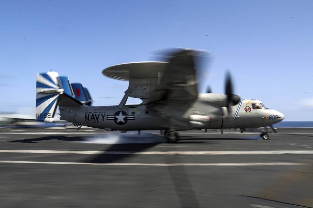 "In this Monday, May 20, 2019 photo, released by U.S. Navy, an E-2D Hawkeye from the ""Bluet ..."