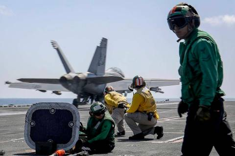 """In a photo, released by U.S. Navy, an F/A-18E Super Hornet from the """"Jolly Rogers"""" of Strike Fi ..."""
