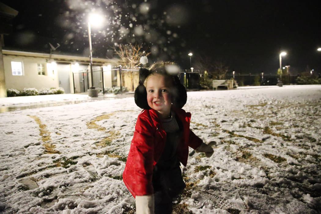 Janie Mott, 4, of Las Vegas, plays at the Skye Canyon Park in Las Vegas, Wednesday, Feb. 20, 20 ...