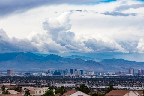 A view from Henderson of the Strip with cloud cover, Wednesday, May 22, 2019. There are chances ...