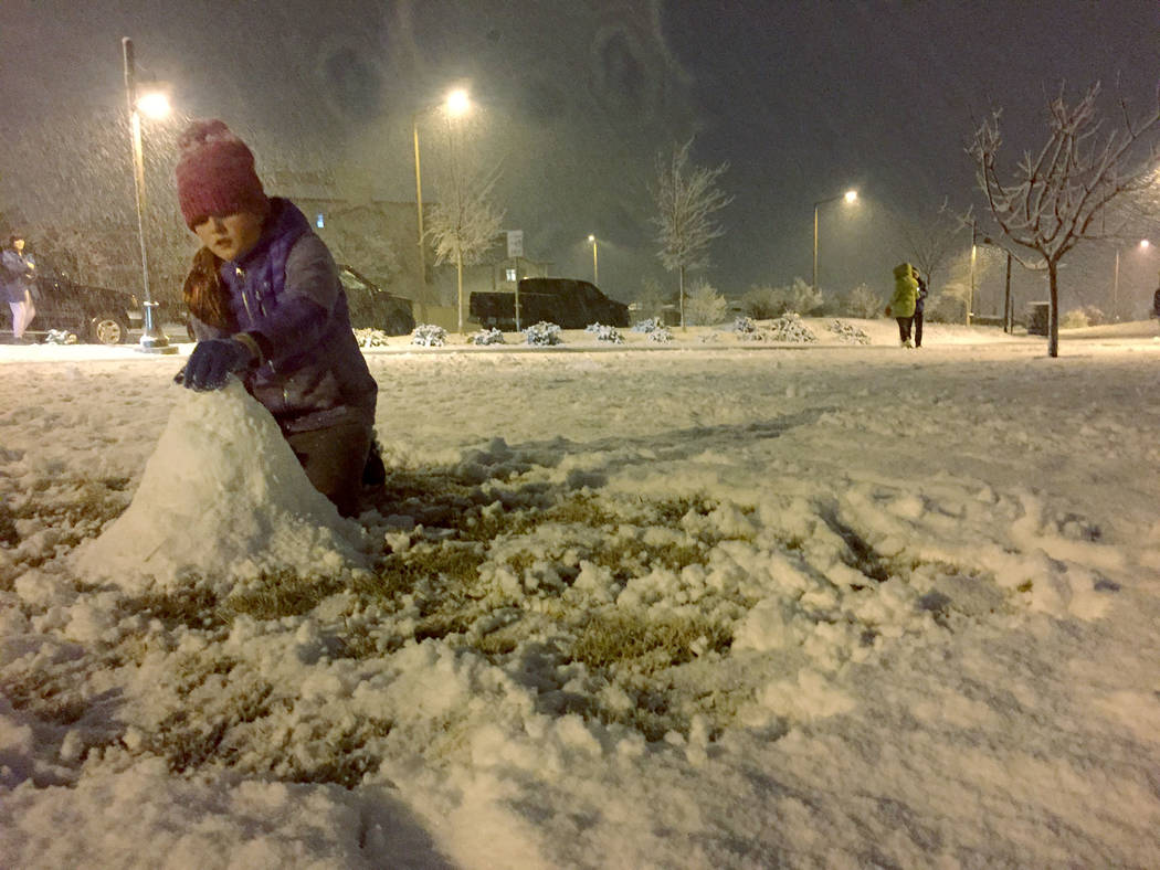 Ellie Prindle, 10, a fifth-grader at Givens Elementary School, makes a snowman Sunday night, Fe ...