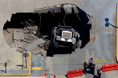 In this image made from video provided by WABC-TV, a section of a parking garage is cordoned of ...