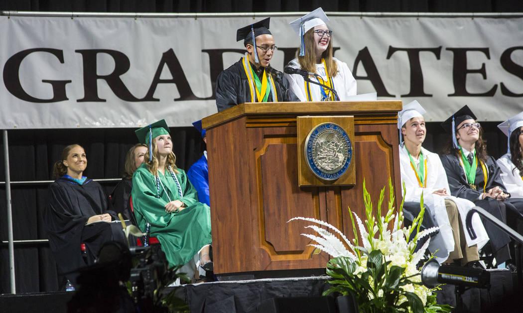 Graduating Green Valley High School valedictorian Benel Higuchi, left, speaks alongside fellow ...