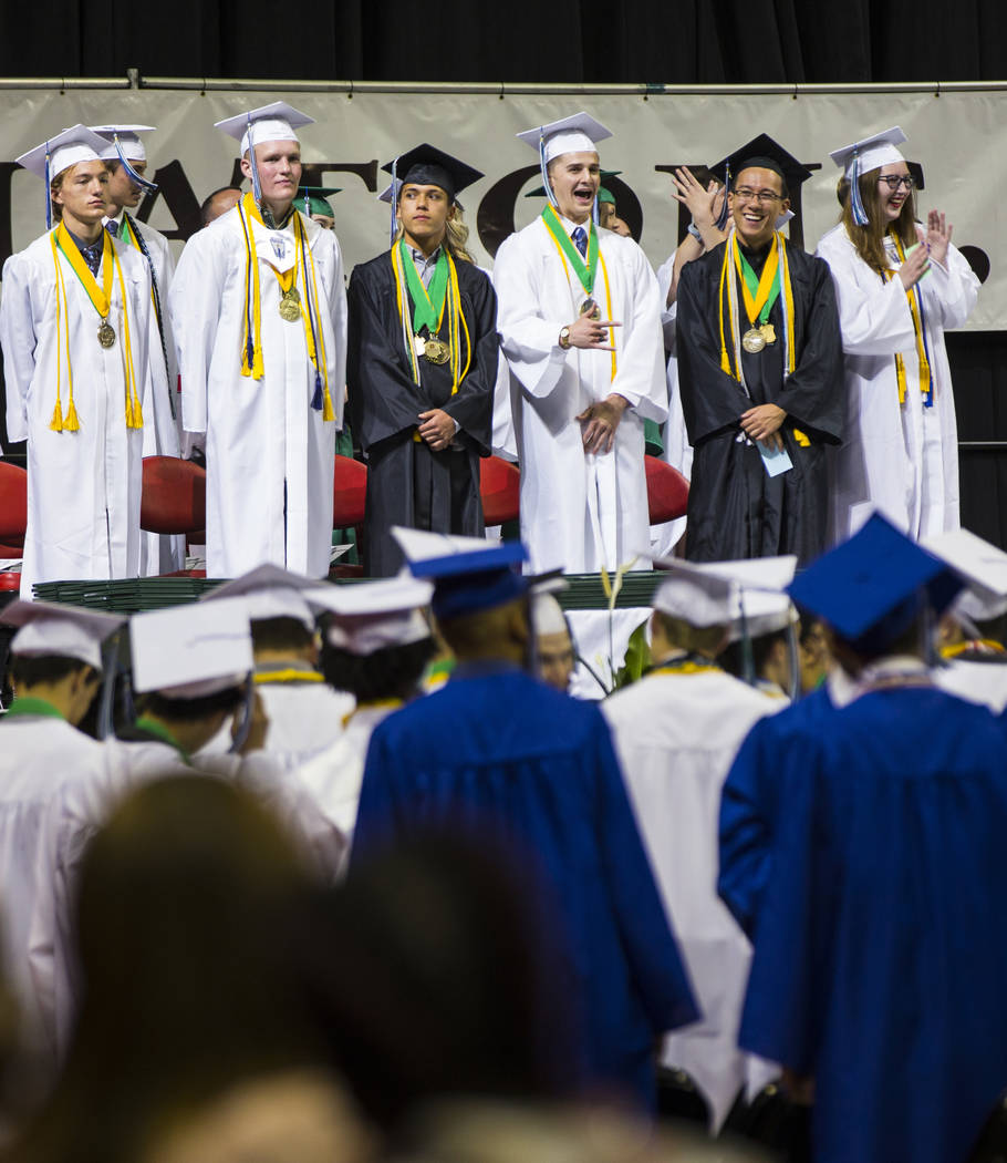 Graduating Green Valley High School valedictorians, from left, Jack Burgess, Tuff Donovan, Xavi ...