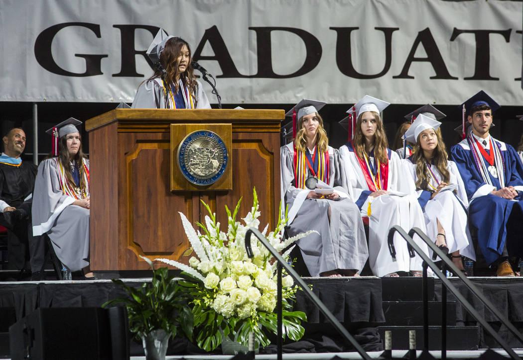 Graduating Coronado High School valedictorian Mina Chia speaks during the graduation ceremony a ...