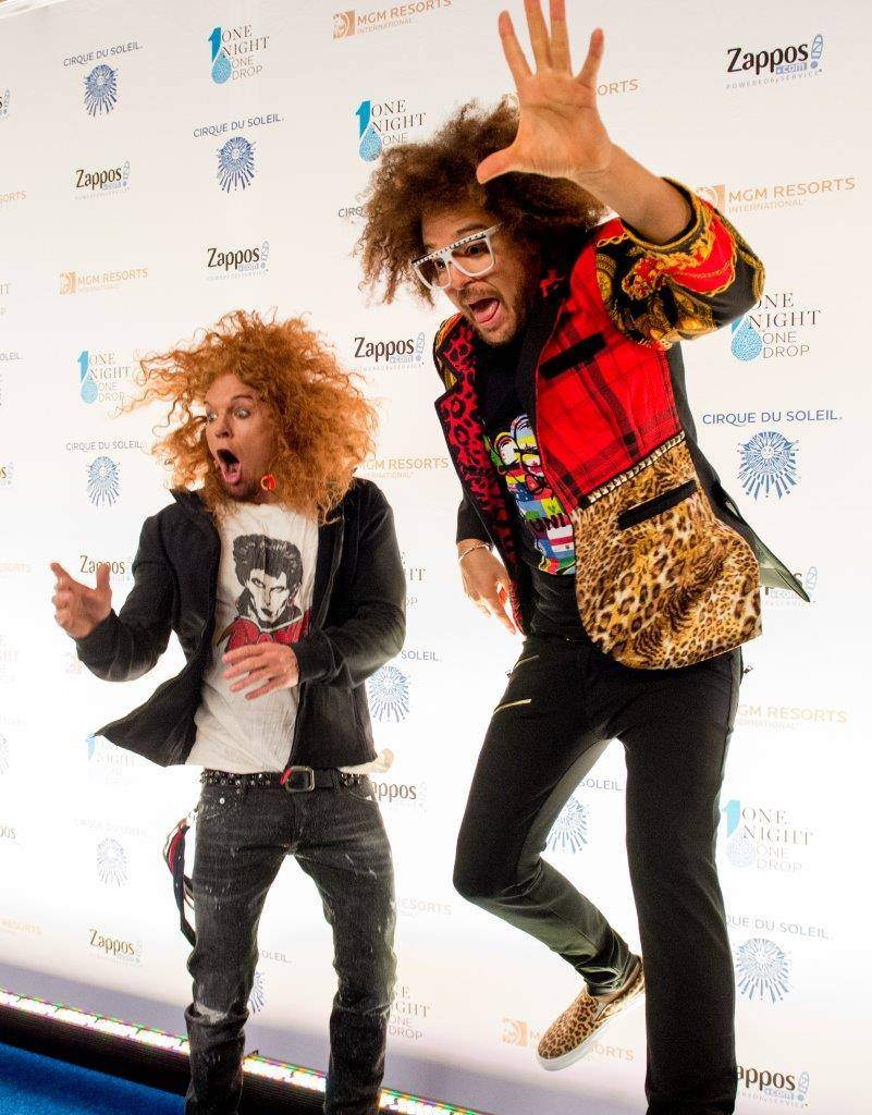 "Carrot Top and Redfoo arrives on the blue carpet for the fifth-annual ""One Night for One Drop"" ..."