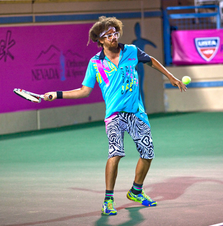Rap star and tennis buff Redfoo is shown at the 2012 Party Rock Open at Darling Tennis Center i ...