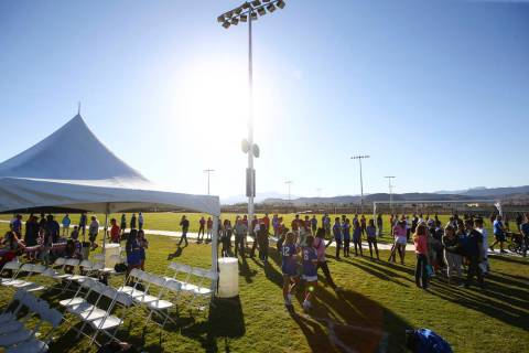 Attendees check out the soccer fields during the grand opening event of the James Regional Spor ...