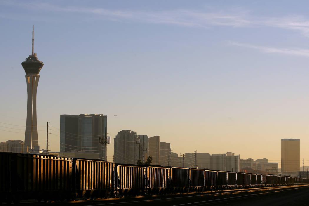 A Union Pacific train moves through downtown Las Vegas Tuesday, Jan. 6, 2015. The City of Las V ...