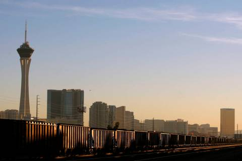 A Union Pacific train moves through downtown Las Vegas Tuesday, Jan. 6, 2015. The City of Las V ...
