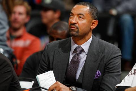In this Nov. 30, 2016, file photo, Miami Heat assistant coach Juwan Howard watches during the s ...