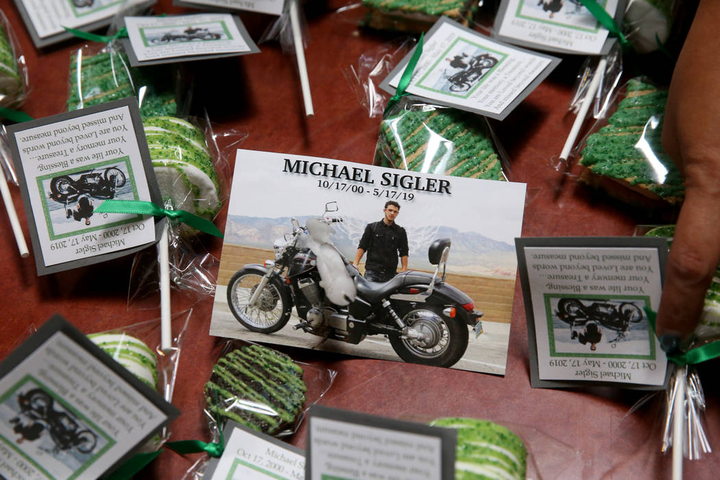 Donor gifts are shown during fundraiser at Paymon's Mediterranean Cafe in Las Vegas Thursday, M ...