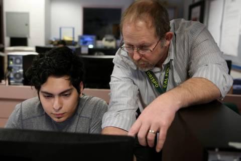 Advanced Technologies Academy teacher Richard Knoeppel, the Nevada Teacher of the Year, works w ...