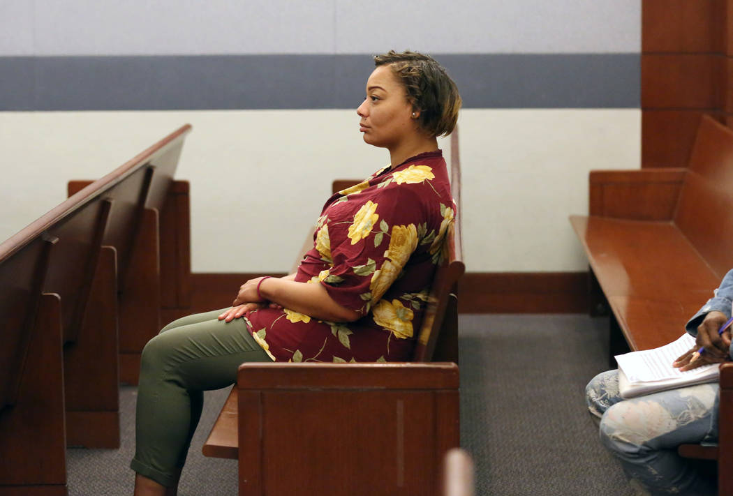 Cadesha Bishop, 25, accused of shoving a 74-year-old man off a bus, appears in court during her ...
